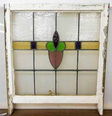 "LARGE OLD ENGLISH LEADED STAINED GLASS WINDOW Heart Floral design 26"" x 25.75"""