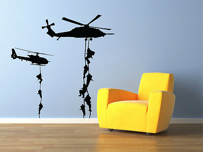 """Military Helicopter Troopers Rappelling Wall Decal Vinyl 22""""x22"""""""