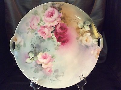 "Beautiful Vintage SILESIA Germany Hand Painted Roses Porcelain Plate 10"" Signed"