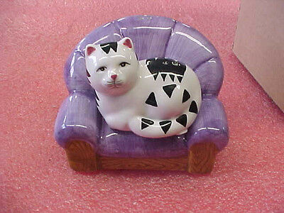 FT3 Black & White Cat on Purple Couch Salt & Pepper Shakers set New in box