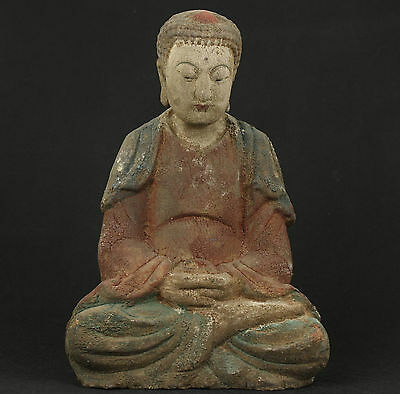 Vintage Chinese Old Wooden Collectable HandworkCarved Buddha Monk Statue
