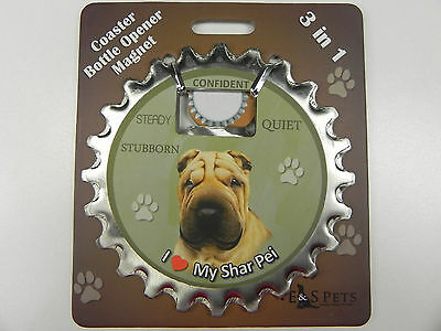 Shar Pei dog coaster magnet bottle opener Bottle Ninjas magnetic