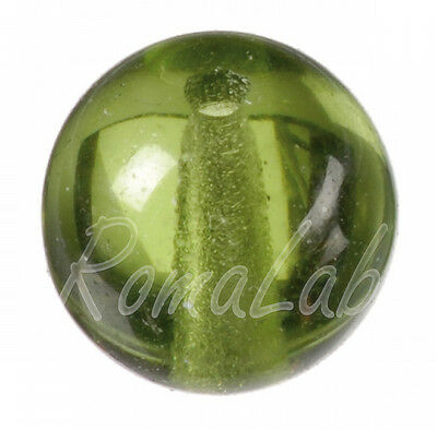 40 PERLINE in vetro di Boemia 8 mm color verde muschio PERLE tonde glass beads