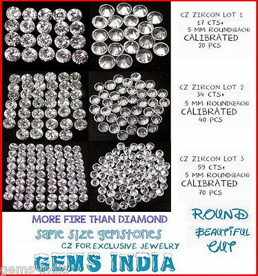 Cz Cubic Zirconia 5Mm Round Loose Snowflake White Exclusive Fire #gemsindia