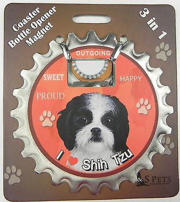 Shih Tzu (black white puppy cut) dog coaster magnet bottle opener Bottle Ninjas