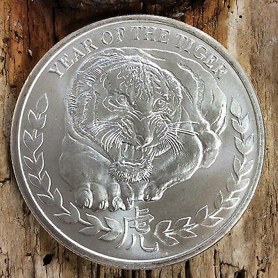 1 Oz SILBER MÜNZE YEAR OF THE TIGER 1000 SHILLINGS SOMALILAND 2010 TOP #1274