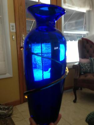 "Beautiful Colbalt Blue Blenko Tall GlassVase (12"") Signed by Richard Blenko 2000"