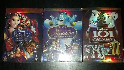 Aladdin and Beauty and the Beast 101 Dalmatians  DVD Disney New Slipcover
