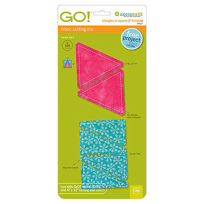 """AccuQuilt GO! & Baby Triangles in Square-3"""" Finished Square Fabric Die 55027 Sew"""