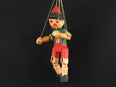 """12"""" Vintage Pinocchio Marionette Wooden Puppet Doll Hand Carved & Painted"""