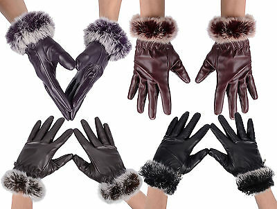 Women Ladies Faux Leather Gloves Autumn Winter Warm Fur Mittens Chrismas