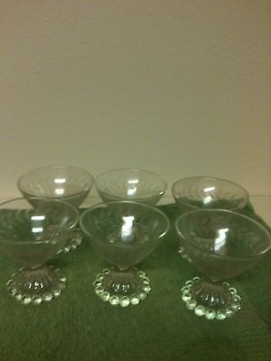 "Set Of 6 Ice Cream Sundae Dishes Beaded Bottom 3 1/2""H WITH LEAF VINE AROUND TOP"