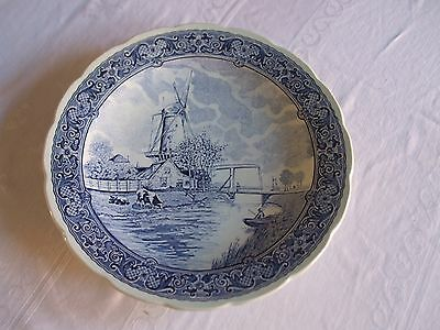 """BOCH FRERES Blue Delft Transfer Ware 12"""" Wall Plate Charger"""