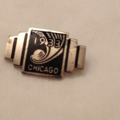 """1933 chicago world's fair pin  """"1933 CHICAGO""""  Silver and Black"""
