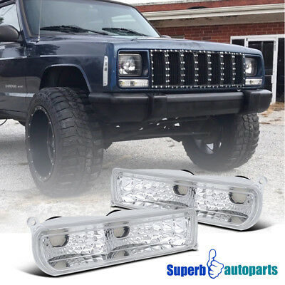 1997-2001 Jeep Cherokee Bumper Signal Lights Parking Lamps Chrome/ Clear