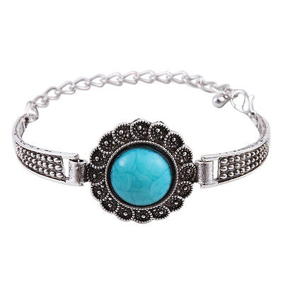 New Classical Natural resin tibet silver chain bangle bracelet H-2040