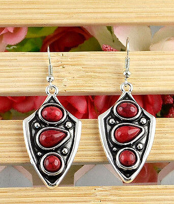 Noble Classical hot cute Turquoise tibet silver hook earrings H-456