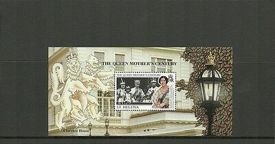 St Helena Sgms794-Queen Mothers Century Minisheet-Mnh