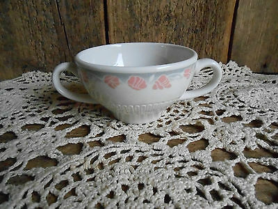 Syracuse China Double Handled SOUP BOUILLON BOWLS CUPS Grey Pink Floral 6oz