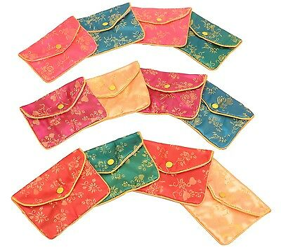 "Silk Jewelry Chinese Pouch Bag Roll Assorted FOUR DOZEN - 4 1/2"" x 3 1/2"""