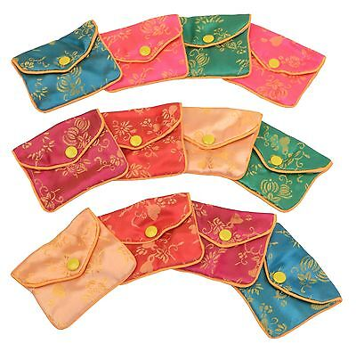 "Silk Jewelry Chinese Pouch Bag Roll TEN DOZEN Assorted - 3"" x 2 1/2"""