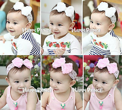 Pearl Rose Bow Lace Flower Baby Girl Kids Headband Hairband Christening Pink