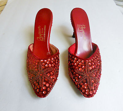 Vintage 1940's Ruby Red Evening Shoes Pumps Heels Velvet, Beads,& Sequins Sz 8