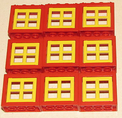 LEGO LOT OF 9 RED TOWN WINDOWS WITH YELLOW PANES CITY HOUSE BUILDING PIECES
