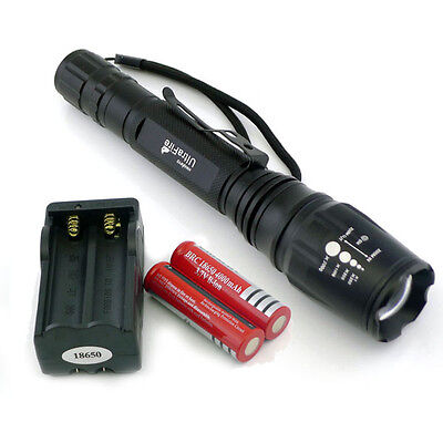 CREE XM-L T6 LED 2200LM Zoomable Flashlight Torch + 2x18650 + Charger From USA