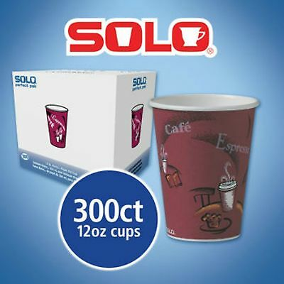 Solo Hot Drink Cups 12oz Maroon 300ct Paper Bistro Design, |NO SALES TAX|