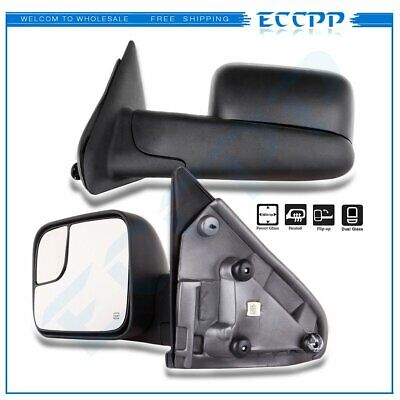 For 02-08 Dodge Ram Truck Side View Mirror Power Heated Towing Mirrors Pair Set