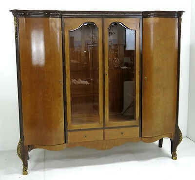 Large Bronze Mounted Louis XV Antique Banded Armoire Wardrobe Bookcase Cabinet