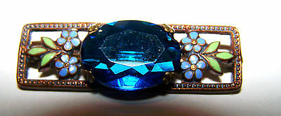 Vintage Costume Bar Pin - Copper w/ Large Blue Stone