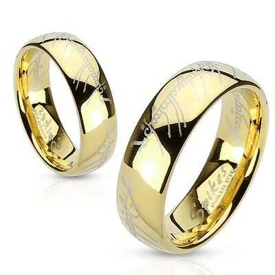 Stainless Steel Gold IP Lord of the Ring, The One Ring, LOTR Band Ring, Sz 5-13
