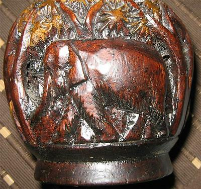 Old Vintage Retro Art Deco Carved Vase With Elephants In Great Condition
