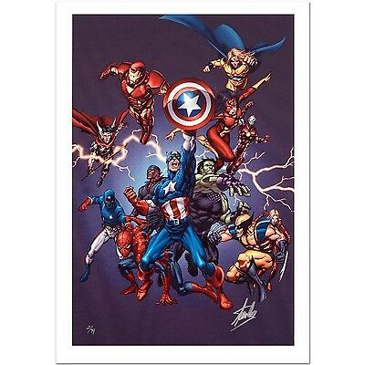 """Signed by Stan Lee COA  """"Avengers 2005"""" Limited Edition Art Giclee on Canvas"""