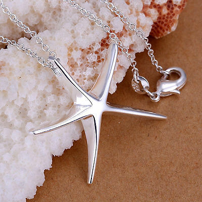 UK - Sterling Silver Plated Star / Starfish Pendant Necklace   023