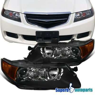 2004-2005 Acura TSX Sedan 4dr Projector Headlights Head Lamps Black