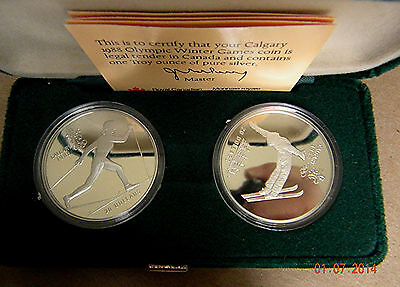 1988 Canadian Calgary Winter Games GEM Silver 2 coin Proof Set ~OGP
