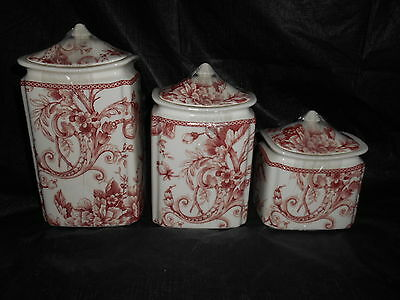 222 FIFTH Maroon Red White Adelaide Toile Bird 3 Porcelain Canister Set