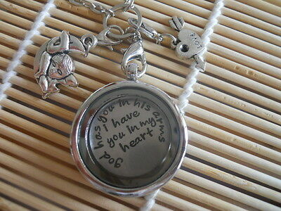 Lovely Floating Locket Necklace Dangle Rolo Chain with I Have You In My Heat