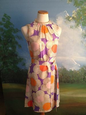The Perfect Vintage Mod 60s Go-Go Flower Costume Shift Dress Sz 8 Day Glo
