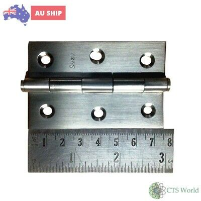 75mm x 46.5mm Stainless Steel Butt Hinge Fixed Pin Door Qty.1 Pair (2 Hinges)