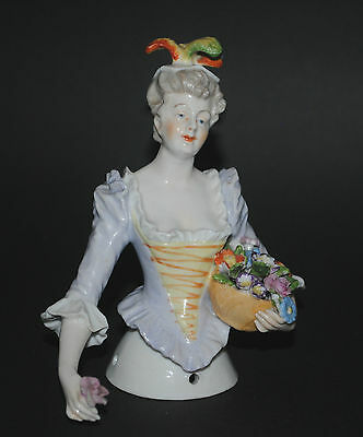 Antique German Or French Porcelain Half Doll Figurine Rococo Lady Flower Basket