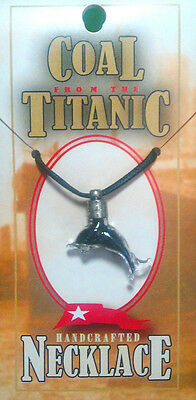 RMS TITANIC COAL HANDCRAFTED DOLPHIN NECKLACE W/ COA AUTHENTIC