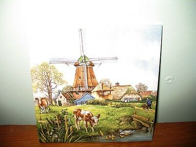 ROYAL MOSA HOLLAND HANDDECORATED ART TILE-WINDMILL/VILLAGE SCENE-ARTIST SIGNED