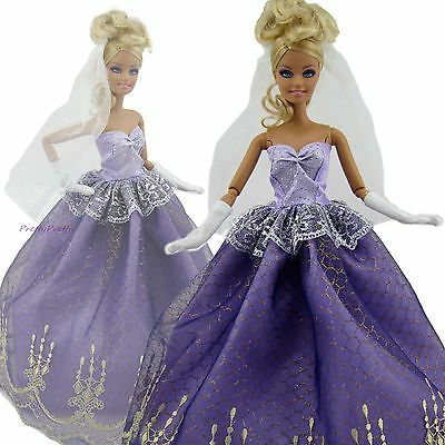 Fashion Handmade Court Dress Wedding Party Clothes For Barbie Doll xMas Gift PP