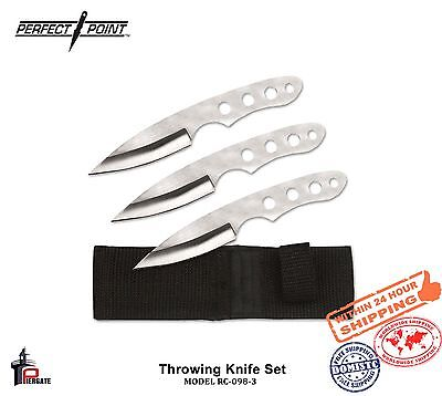 Perfect Point Throwing Knife Set 3 PC's Stainless Blade Nylon Sheath RC-098-3