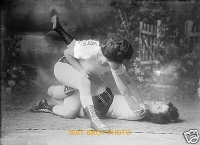 REPRINT OF CIRCA 1910 PHOTO SHOWING THE BENNETT SISTERS WRESTLING VAUDEVILLE ACT
