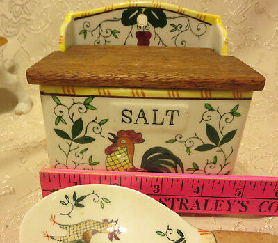 VINTAGE UCAGCO PY JAPAN ROOSTER AND ROSES SALT BOX & SPOON